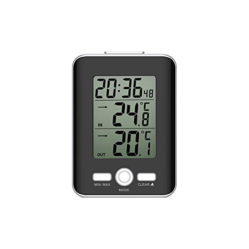 GAOAG Indoor and outdoor thermometers- Digital Thermometer Clock with Wired Temperature Sensor with Snooze and alarm ()