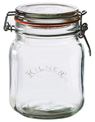 Kilner Square Clip Top Jar, Durable Glass Container with Airtight Seal for Home-canning, Preserving, and Storing, 34-Fluid Ounces