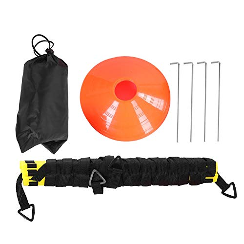 Agility Ladder Training Equipment Set - Includes 6m 12-Section Yellow Agility Ladder,5 Disc Cones, Resistance Parachute,4 Steel Stakes and a Drawstring Bag - Soccer & Sports Speed Trainning Euipment by Vbestlife