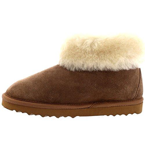 Tan Semelle Epais Polarr Caoutchouc Mouton Authentique de Bottes Chaussons Fourrure Peau en Poignet Femmes wB6fOxSq6U