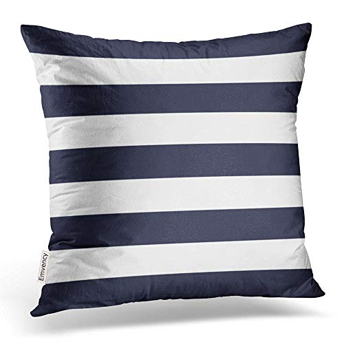 Accrocn Square Throw Pillow Covers Navy Blue Nautical Stripes Outdoor Pillowcases Polyester 18 X 18 Inch With Hidden Zipper Home Sofa Cushion Decorative Pillowcase