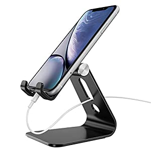 Cell Phone Stand Adjustable, OMOTON Aluminum Desktop Phone Holder Cradle Dock Compatible with All Smartphone iPhone 11 Pro Max Xs Xr X 8 7 6 6s Plus 5 5s 5c, Black