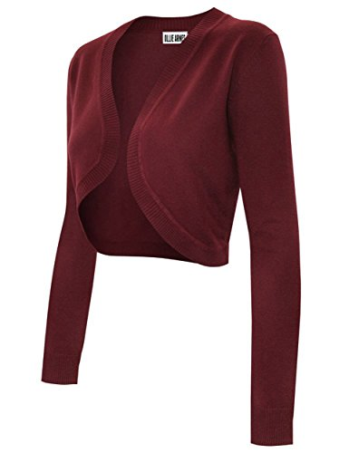 Ollie Arnes Women's Solid Basic Short and Long Sleeve Bolero Shrug Knit Cardigan 70_BURGUNDY L