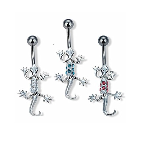 Gecko with Crystal Encrusted Dangling Body Belly Button Ring in 316L Stainless Steel with CZ Crystal Accents - Available in Three Colors! (Clear)