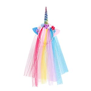 Unicorn Headband With Tulle Mane and Flowers For Adults and Girls