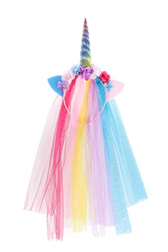 Rainbow Unicorn Headband With Tulle Mane Featuring A Rainbow Horn, Pastel Cat Ears, and -