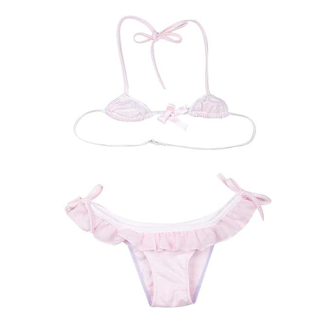 655b1ce33806 TOMORI Womens Mini Bikini Set Lolita Cosplay Costumes Japanese Cute Girls  Lace Ruffle Lingerie (Pink