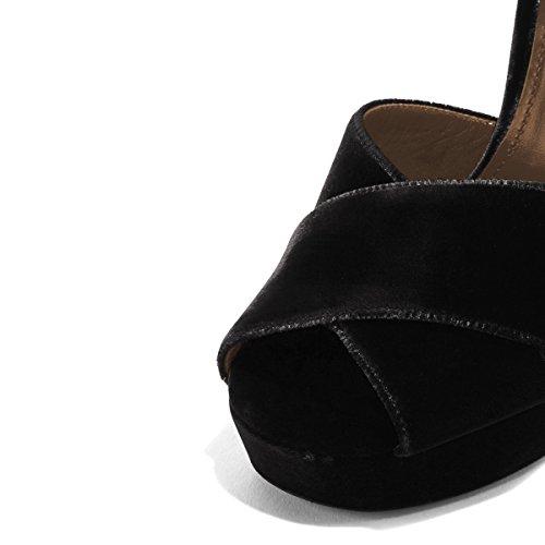 XYD Chic Chunky Heel Peep Toe Sandals Velvet Platform Slingback Cross Strap Dress Pump Shoes Black fUbFaPlCY