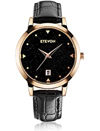 ETEVON Women's Quartz Leather Casual Watch with Black Starlight Dial and Rose Gold Case for Women Ladies