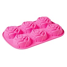 Moldiy 6 Cavity 3D Rose Shaped DIY Silicone Mold for Soap Cake Food Pudding and More