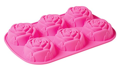 6Cavity 3D Rose Shaped DIY Silicone Mold for Soap Cake Food Pudding and More