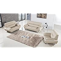 American Eagle Furniture 3 Piece Extra Base Supported Upholstered Leather Living Room Set with Sofa, Cream