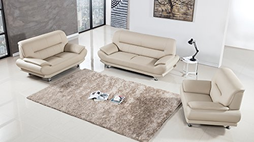 - American Eagle Furniture 3 Piece Extra Base Supported Upholstered Bonded Leather Living Room Set with Sofa, Cream
