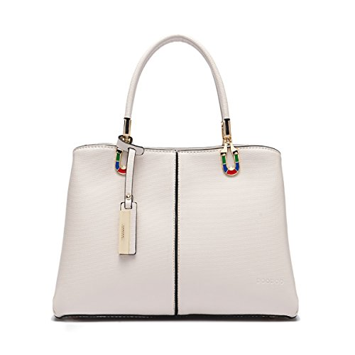 Tisdaini Bolsos de las mujeres en cuero de la PU bolsa de asa mediana bolsas de hombro elegante diseño de moda bolsas para mujeres blanco Blanco