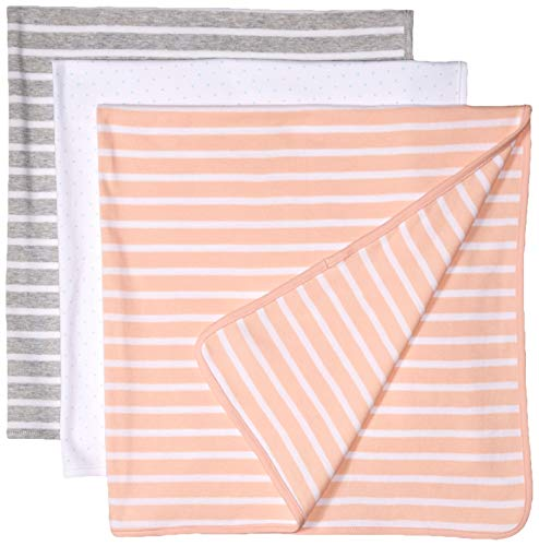 Amazon Essentials Baby 3-Pack Swaddle Blanket, Uni Stripe, One Size ()