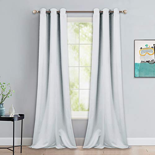 - NICETOWN Room Darkening Long Curtain Set - Window Treatment Thermal Insulated Grommet Long Drapes for Living Room (2 Panels, 42 by 90, Greyish White)