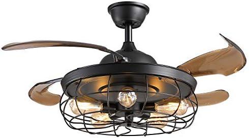 Siljoy 42″ Retractable Blades Chandelier Ceiling Fan Industrial Retro Reverse Fandelier