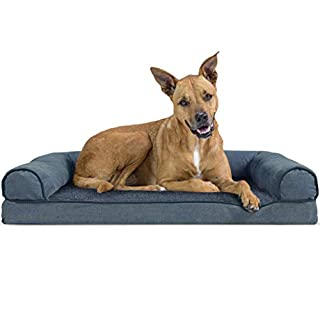 Furhaven Pet Dog Bed - Orthopedic Faux Fleece and Chenille Soft Woven Traditional Sofa-Style Living Room Couch Pet Bed with Removable Cover for Dogs and Cats, Orion Blue, Large