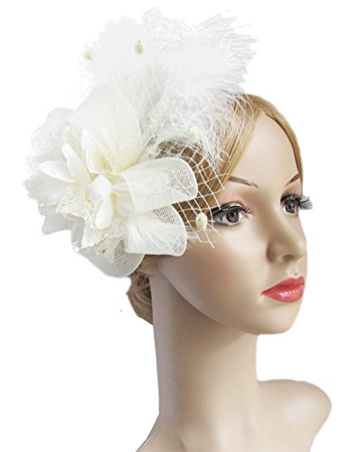 (Kathyclassic Women's Fascinators Hat Hair Clip Feather Wedding Headware Bridal 1920s Headpiece)
