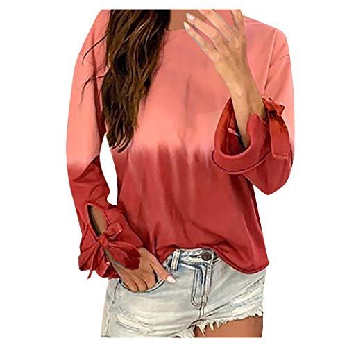KLFGJ Ladies Long Sleeve Shirt Women Casual O-Neck Gradient Top Contrast Color Tops Pullover Sweatshirt ()