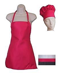 Kids Chef Hat and Kids Apron Set - Adjustable Hat - Fits Childs Size Medium 6-12 (Pink)