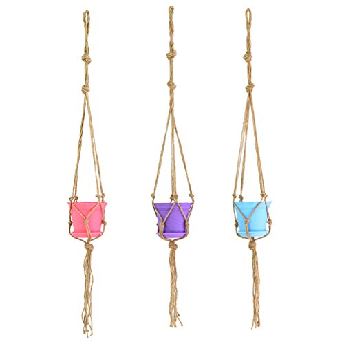 DGOL 3 Sets Home Decor Macrame Jute Plant Rope Hanging Basket Handmade Simple Flower Pot Holder Hanger Length 41 inch