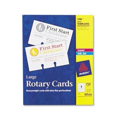 AVERY-DENNISON, Large Rotary Cards, Laser/Inkjet, 3 x 5, 3 Cards/Sheet, 150 Cards/Box