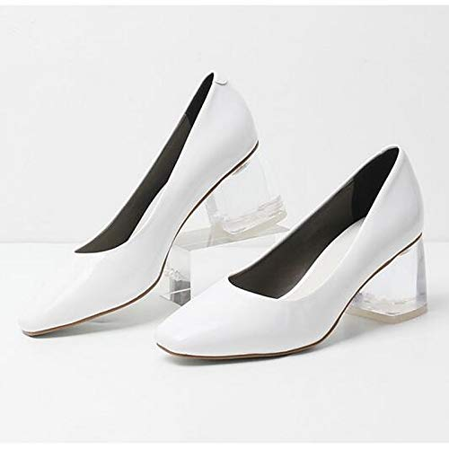 Comfort Women's Leather White Almond Heel ZHZNVX Patent Fall Shoes White Chunky Heels Black wfqBHHpn