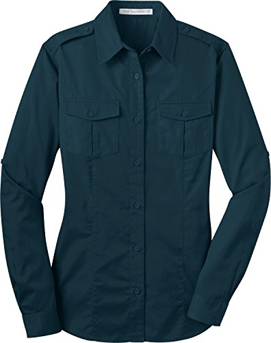 Port Authority L649 Ladies Stain-Resistant Roll Sleeve Twill Shirt - Ultra Blue - 4XL ()