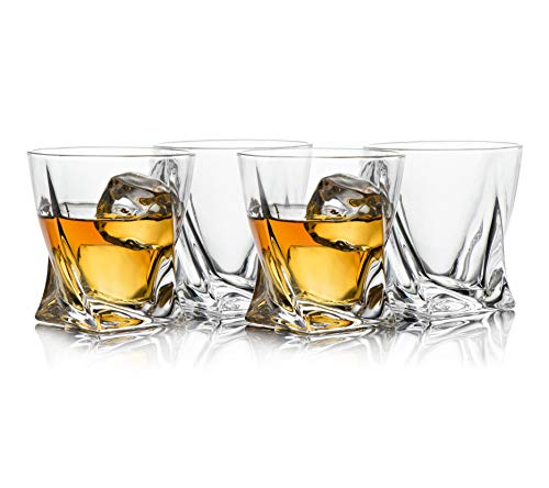 Trinkware Hampton Twist Whiskey Glasses - Set of 4 Double Old Fashioned Tumblers - Lead-free Dishwasher Safe Glassware For Scotch Bourbon Malt Vodka Beer - Large 10 oz Capacity