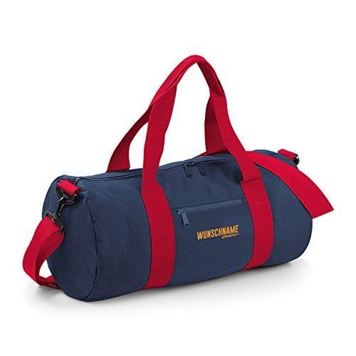 Kleine Reisetasche / Sporttasche / Gepäcktasche: Tasche mit IHREM persönlichem Schriftzug sportliche Reisetasche Farbe: navy-blau