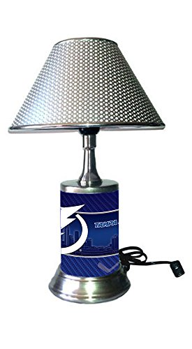 - Rico Table Lamp with Chrome Colored Shade, Tampa Bay Lightning Plate Rolled in on The lamp Base