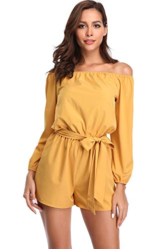 (Off The Shoulder Rompers for Women Strapless Long Sleeve Short Jumpsuits with Belt)