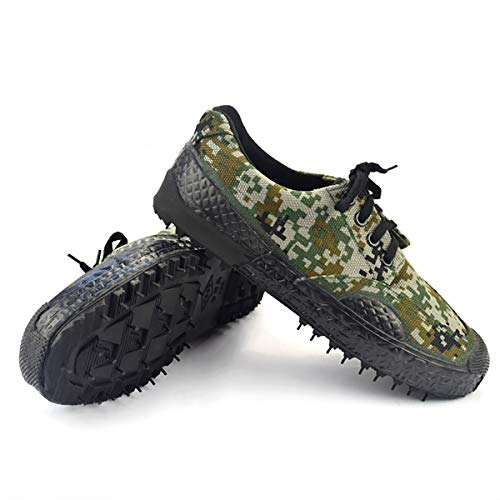 W&TT Men's Camouflage Canvas Shoes,Indoor and Outdoor Climbing Sports Liberation Shoes Non-Slip Wear-Resistant Breathable Rubber Shoes,Camouflage,42