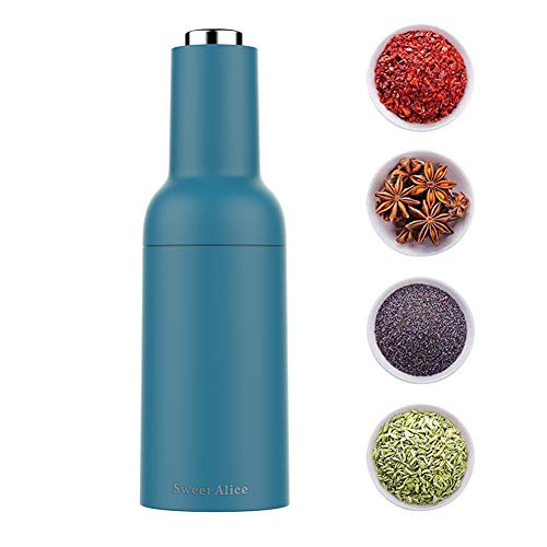 Gravity Electric Pepper Grinder or Salt Mill【2019 Newest】- Battery Powered Automatic Salt and Pepper Mills with Adjustable Coarseness,One Handed Operation,Tall Power Shaker