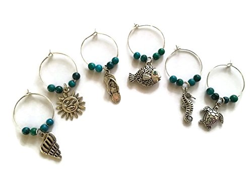 Coastal Beach Wine and Champagne Glass Wine Charms, 6