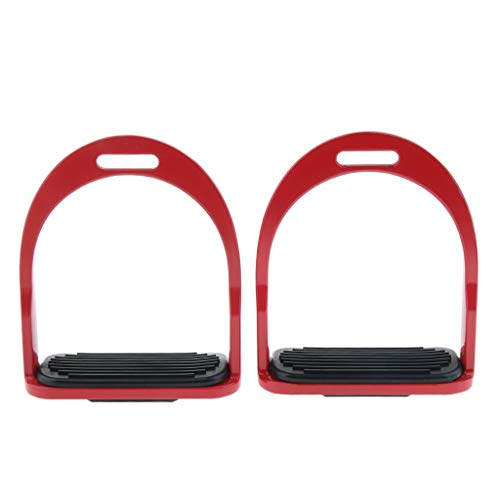 (Prettyia Heavy Duty Horse Saddle English Stirrups Safety Stirrup with Foot Pad for Outdoor Horse Riding Jumping Show Performance - Red, 16x5x13.5cm)