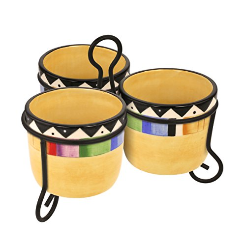 KOVOT Fiesta Style Dip Bowls With Metal Stand | Cinco De Mayo Decor
