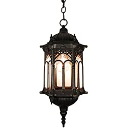eTopLighting Rococo Collection Oil rubbed Matt Black Finish Exterior Outdoor Lantern Light Clear Glass, Pendant APL1116