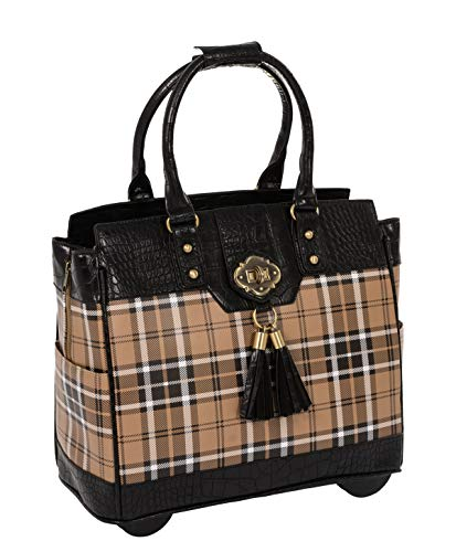 (Mad for Plaid Rolling Computer iPad Tablet or Laptop Tote Briefcase Carryall Bag)