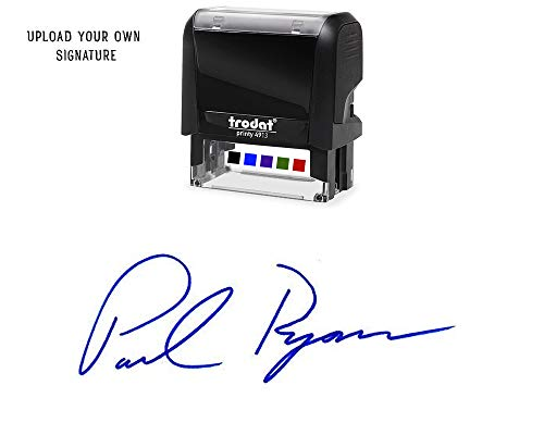 (Custom Upload Signature Stamp - Customizable Signature Stamp - Personalized Self-Inking Signature Stamps. Blue Ink)