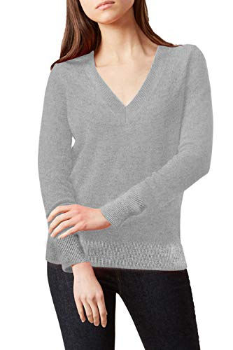 (ALBIZIA Women's V-Neck Cashmere Wool Ribbed Knited Pullover Sweaters M Grey)