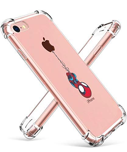 Logee TPU Spider Funny Cute Cartoon Clear Case for iPhone 8/iPhone 7 4.7