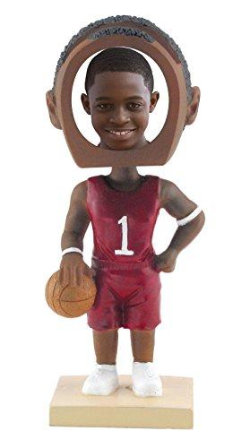 Male Basketball Resin - Male Basketball Player Photo Bobble Head - Dark Skin Tone