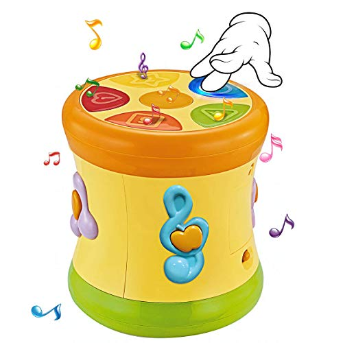(Baby Activity Drum Musical Toys - Double Sid Electronic Music& Sound with Lights Learning Educational Toy for Baby & Toddler for 1 2 3 Year Old Boys and Girls)