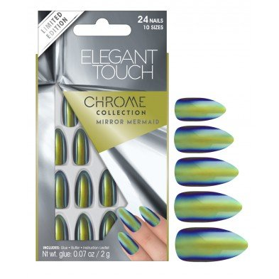 Elegant Touch False Nails - Chrome Collection - Mirror Mermaid (Adhesive Included)