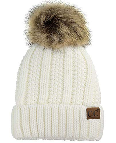 CC Quality Women's Faux Fur Pom Pom Fuzzy Fleece Lined Slouchy Skull Thick Cable Beanie hat (Ivory)