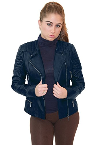 Olivia Miller Womens Faux Leather Zip Up Moto Biker Jacket JK5207SX Navy 1X