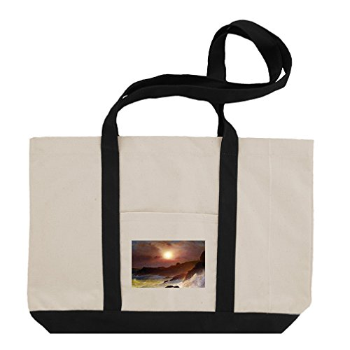 Coast Scene, Mount Desert (Church) Cotton Canvas Boat Tote Bag Tote - Black by Style in Print