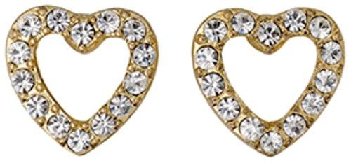 Pilgrim Boucles d'oreilles clous Cœur en cristal...... Diamètre: 1cm... plaqué or 16carats